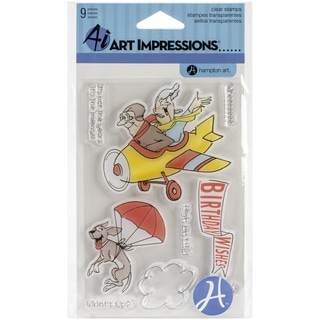 """Art Impressions Clear Stamps 4""""X8""""-His & Hers Flying High"""