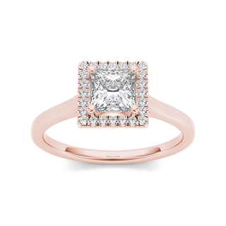 De Couer 14k Rose Gold 1ct TDW Princess-cut Halo Diamond Ring (Option: 9.25)