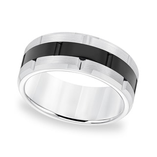 Cambridge Tungsten Carbide Black/ White Brick Pattern Men's Ring