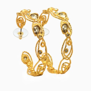 De Buman 18k Gold Plated Crystal Hoop Earrings