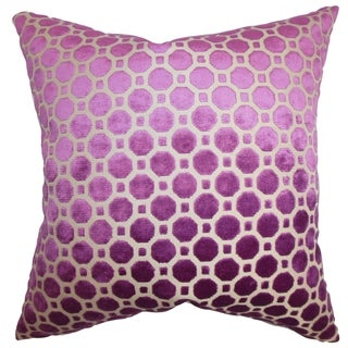 Kostya Purple Geometric 18-inch Feather and Down Filled Pillow
