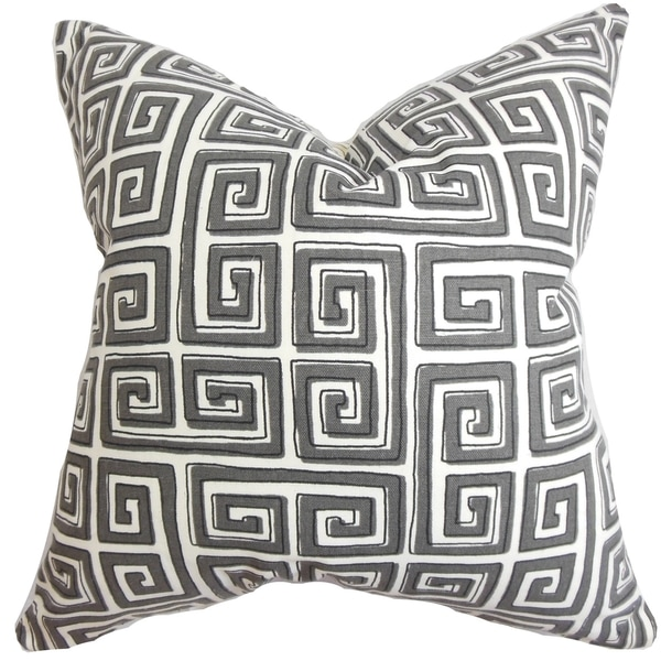 Klemens Neutral Geometric 18-inch Feather and Down Filled Decorative Throw Pillow