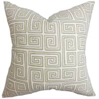 Klemens Greek Key 18-inch Feather and Down Filled Decorative Throw Pillow