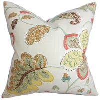 Jora Yellow Floral 18-inch Feather and Down Filled Decorative Pillow