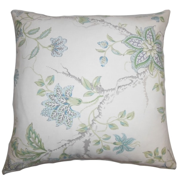Ululani Floral 18-inch Feather and Down Filled Decorative Throw Pillow