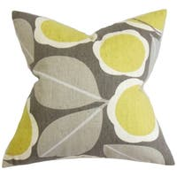 Brice Yellow Floral  Decorative Throw Feather and Down Filled Throw Pillow