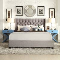 Naples Wingback Button Tufted Upholstered King Bed by iNSPIRE Q Artisan