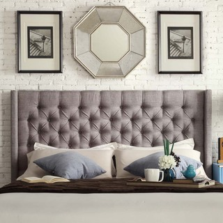 SIGNAL HILLS Naples Wingback Button Tufted Upholstered King-Sized Headboard