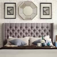 Naples Wingback Button Tufted Upholstered King Headboard by iNSPIRE Q Artisan