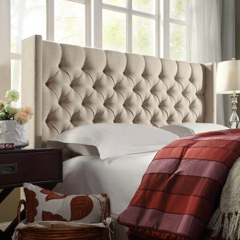 Naples Wingback Button Tufted Linen Fabric Full Size Headboard by iNSPIRE Q Artisan
