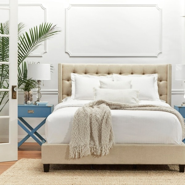 Naples Wingback Button Tufted Upholstered Full Bed by iNSPIRE Q Artisan. Opens flyout.