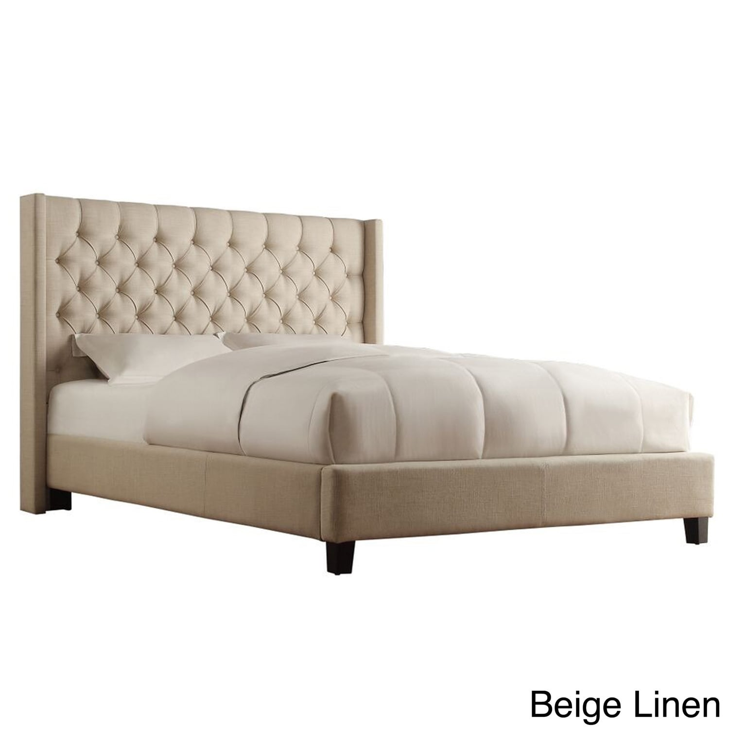 Naples Wingback Button Tufted Upholstered Full Bed by iNS...