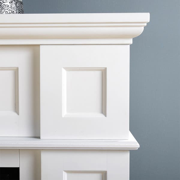 Shop 41 Wide Electric Fireplace Mantle In White Overstock 9477653