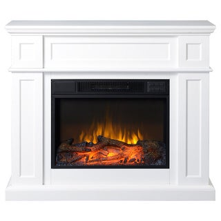 "41"" Wide Electric Fireplace Mantle in White"