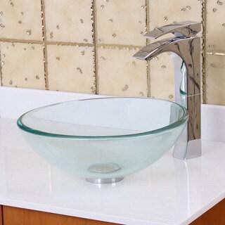 "Elite 14"" Diameter Small Clear Tempered Glass Bathroom Vessel Sink"