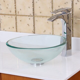 Elite GD05S Small Clear Tempered Glass Bathroom Vessel Sink