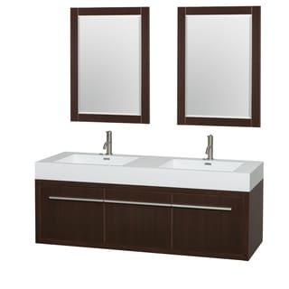 Wyndham Collection Axa  60-inch Acrylic ResTop Int. Sink and 24-inch Mirror Double Bathroom Vanity