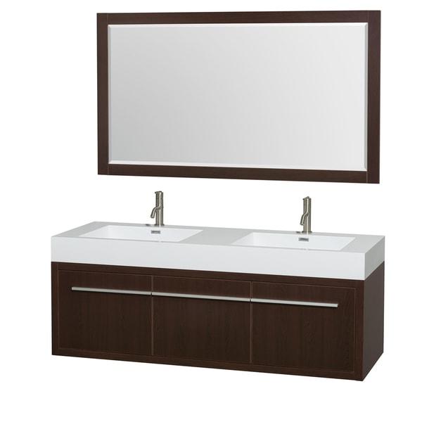 Wyndham Collection Axa  60-inch Acrylic ResTop Int. Sink and 58-inch Mirror Double Bathroom Vanity