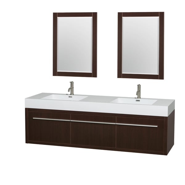 Wyndham Collection Axa 72-inch Acrylic ResTop Int. Sink and 24-inch Mirror Double Bathroom Vanity