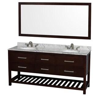 Wyndham Collection Natalie  72-inch Espresso UM Oval Sink and 70-inch Mirror Double Bathroom Vanity