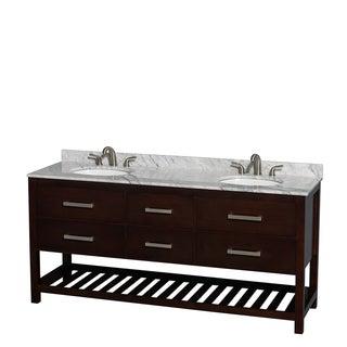 Wyndham Collection Natalie  72-inch Espresso UM Oval Sink Double Bathroom Vanity