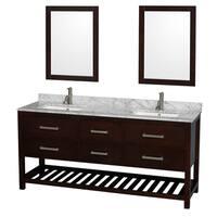 Wyndham Collection Natalie  72-inch Espresso UM Square Sink and 24-inch Mirror Double Bathroom Vanity