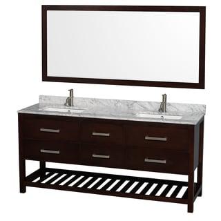 Wyndham Collection Natalie  72-inch Espresso UM Square Sink and 70-inch Mirror Double Bathroom Vanity