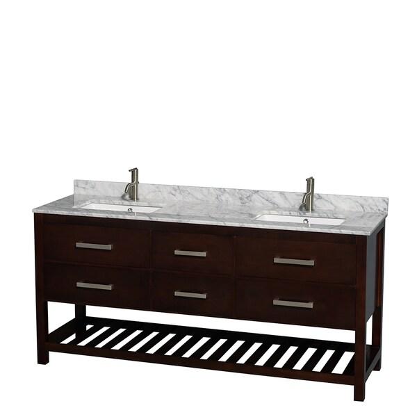 Wyndham Collection Natalie 72-inch Espresso UM Square Sink Double Bathroom Vanity