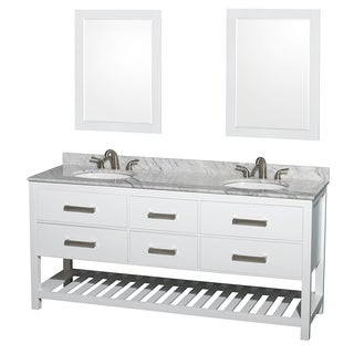 Wyndham Collection Natalie  72-inch White  UM Oval Sink and 24-inch Mirror Double Bathroom Vanity