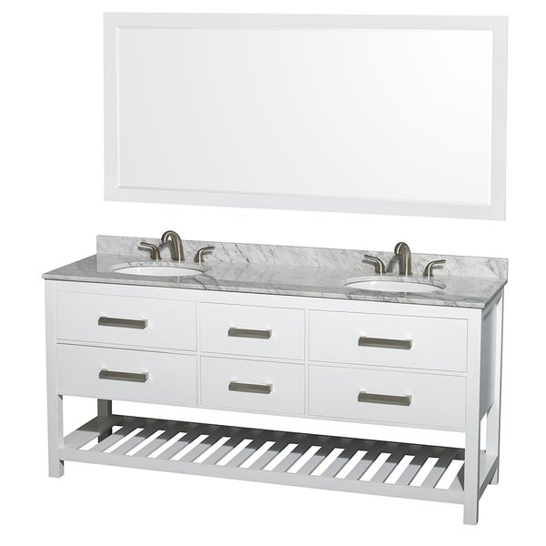 Wyndham Collection Natalie  72-inch White  UM Oval Sink and 70-inch Mirror Double Bathroom Vanity