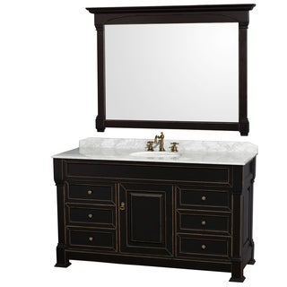 Wyndham Collection Andover 60-inch Black/ White UM Round Sink 56-inch Mirror Single Bathroom Vanity