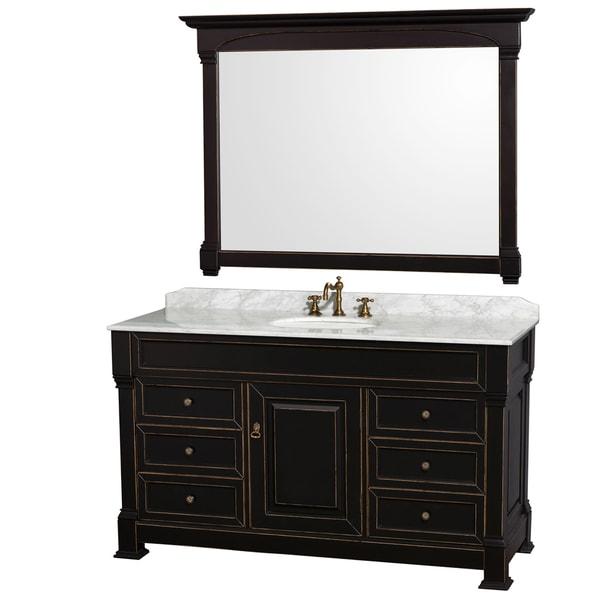 Wyndham Collection Andover 60-inch Black/ White UM Round Sink 56-inch Mirror Single Bathroom Vanity