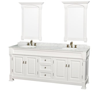 Wyndham Collection Andover 80-inch White UM Round Sink 24-inch Mirror Double Bathroom Vanity