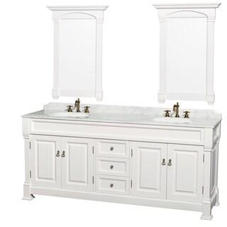 Wyndham Collection Andover 80-inch White UM Round Sink 24-inch Mirror Double Bathroom Vanity