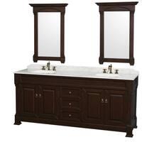 Wyndham Collection Andover  80-inch Dark Cherry UM Round Sink 24-inch Mirror Double Bathroom Vanity