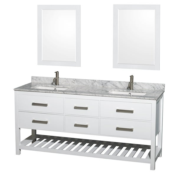 Wyndham Collection Natalie 72-inch White UM Square Sink and 24-inch Mirror Double Bathroom Vanity