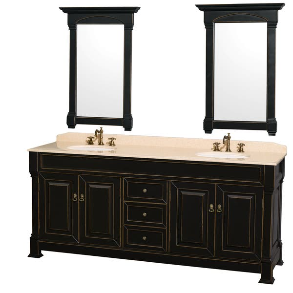 Andover Black 80 Inch Double Bathroom Vanity With Two 24 Mirrors