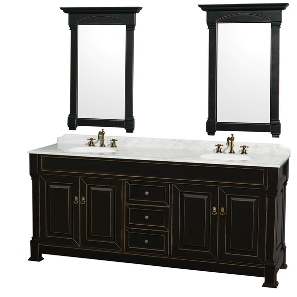 80 inch mirror wyndham collection andover black 80inch double bathroom vanity with two 24inch mirrors shop