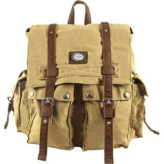 Urban Edge Canvas Twill and Leather Flapover Backpack (Option: Khaki)|https://ak1.ostkcdn.com/images/products/9477751/Urban-Edge-Canvas-Twill-and-Leather-Flapover-Backpack-P16659944.jpg?impolicy=medium