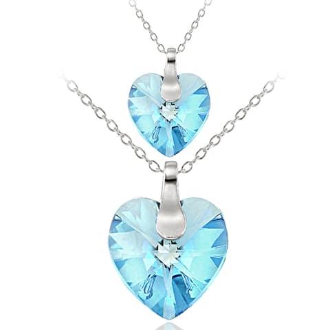 Crystal Ice Sterling Silver Swarovski Elements Mother Daughter Heart Pendant Set