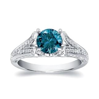 Auriya 14k Gold 1 1/4ct TDW Blue Round Diamond Ring