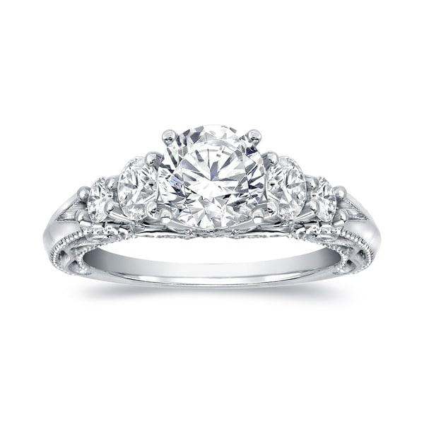 7b0335db5 Auriya Vintage 2 carat TW Round 5-Stone Diamond Engagement Ring 14k White  Gold Certified
