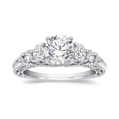 Auriya Vintage 2 carat TW Round 5-Stone Diamond Engagement Ring 14k White Gold Certified