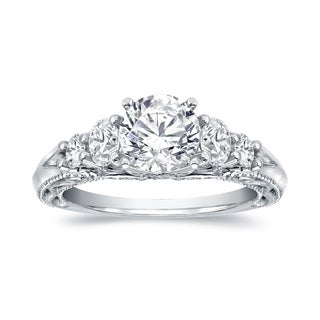 14k White Gold 2ct TDW Certified Vintage 5-Stone Diamond Engagement Ring by Auriya