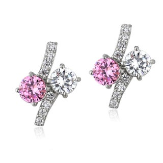 ICZ Stonez Sterling Silver Pink and White Cubic Zirconia Twist Earrings