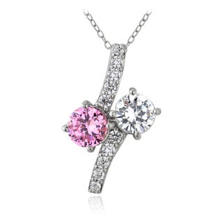 ICZ Stonez Sterling Silver Pink and White Cubic Zirconia Twist Necklace
