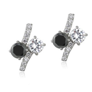 ICZ Stonez Sterling Silver Black and White Cubic Zirconia Twist Earrings