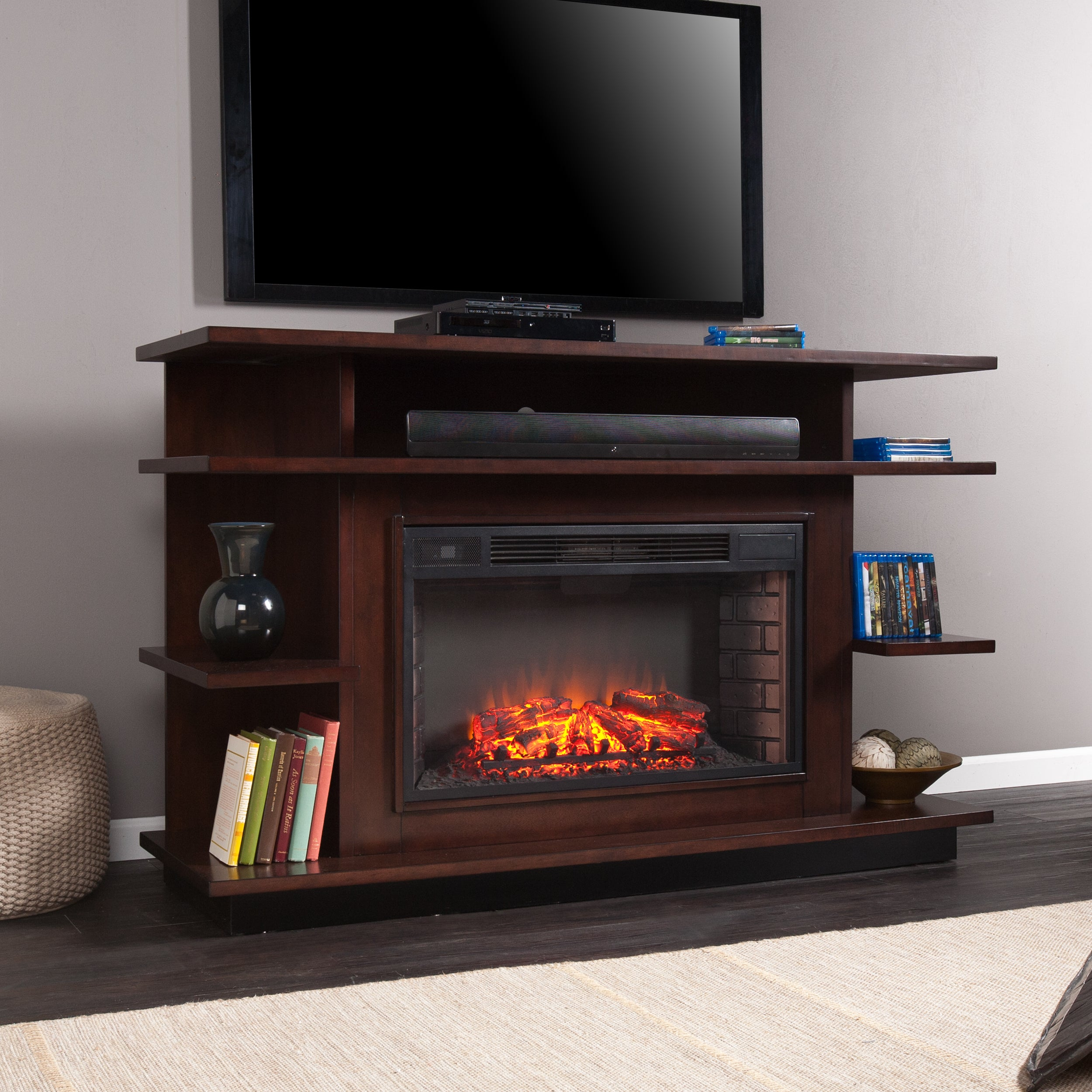 Harper Blvd Wellman 63-inch Espresso/Ebony Stain Media Electric Fireplace