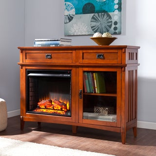 Harper Blvd Nordheim 52-inch Brown Mahogany Electric Fireplace Console