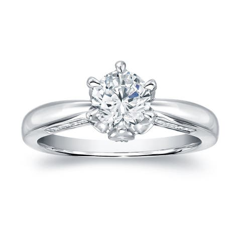 Auriya 1 carat TW Certified Round Diamond Engagement Ring 14k White Gold